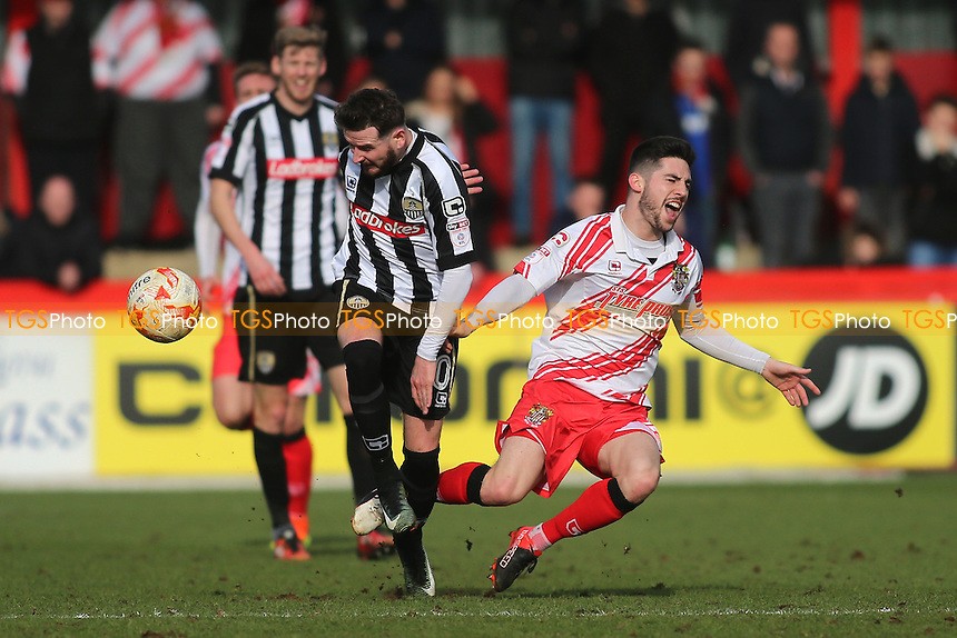 Mark Yeates of Notts County tangles with Tom Pett of Stevenage during Stevenage vs Notts County, Sky Bet EFL League 2 Football at the Lamex Stadium on 4th March 2017