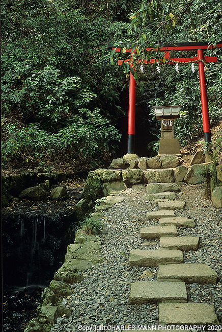 A simple Shinto torii gate and altar is a shrine to the kami, or spirit, of the stream nearby stream.