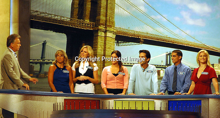 "Pat Sajak, Paige Hemmis, Jeff Probst and Alison Sweeney playing Wheel of Fortune with their partners..at The "" Celebrity Wheel of Fortune"" taping on September 29, 2007 at Radio City Music Hall. ....Robin Platzer, Twin Images......212-935-0770"