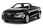 2017 Audi A3-Cabriolet Design 2 Door Convertible Angular Front stock photos of front three quarter view