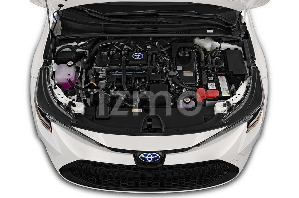 Car Stock 2020 Toyota Corolla-Hybrid LE 4 Door Sedan Engine  high angle detail view