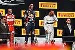 Podium - Fernando Alonso (ESP),  Scuderia Ferrari - Daniel Ricciardo (AUS)  Red Bull Racing - Lewis Hamilton (GBR), Mercedes GP <br />  Foto © nph / Mathis