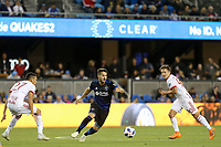San Jose, CA - Saturday October 06, 2018: Vako, Sean Davis, Marc Rzatkowski during a Major League Soccer (MLS) match between the San Jose Earthquakes and the New York Red Bulls at Avaya Stadium.