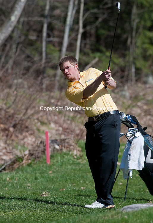 WINSTED, CT 25 APRIL 2013--042513JS01-- Gilbert's Jordan Hansen fires an approach shot to the green during their match with Terryville and Shepaug Thursday at Green Woods Country Club in Winsted. .Jim Shannon Republican-American.