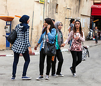 Fes, Morocco.  Modern Dress Styles of Young Moroccan Women.