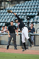 Winston-Salem Dash first baseman Nick Basto (17) catches a foul pop fly during the game against the Salem Red Sox at BB&T Ballpark on June 16, 2016 in Winston-Salem, North Carolina.  The Dash defeated the Red Sox 7-1.  (Brian Westerholt/Four Seam Images)