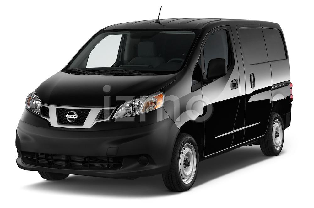2014 Nissan NV 200 Cargo S 5 Door Van Angular Front stock photos of front three quarter view