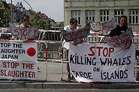 Anti whaling protestors at annual International Whaling Commission meeting in Berlin, Germany