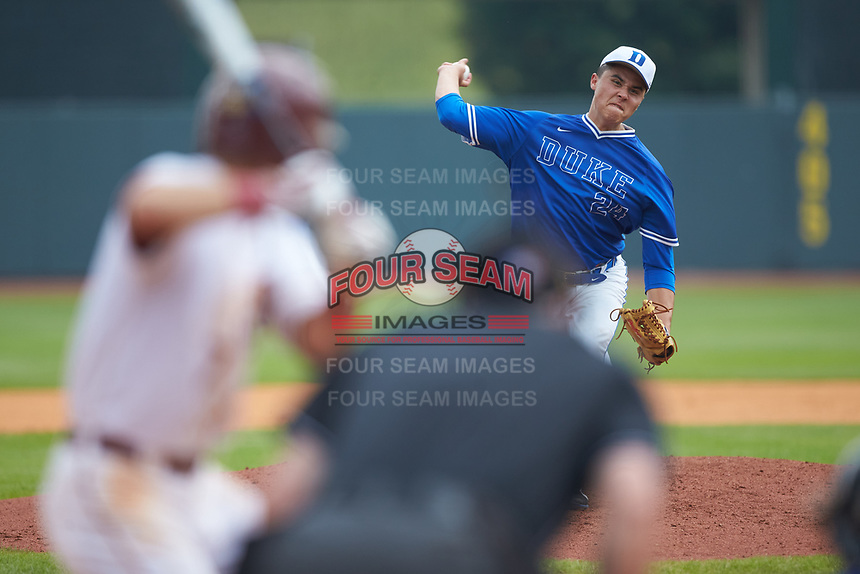 Duke Blue Devils relief pitcher Karl Blum (24) in action against the Florida State Seminoles in the first semifinal of the 2017 ACC Baseball Championship at Louisville Slugger Field on May 27, 2017 in Louisville, Kentucky. The Seminoles defeated the Blue Devils 5-1. (Brian Westerholt/Four Seam Images)
