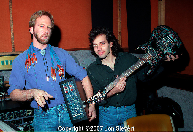 "John Cuniberi, Joe Satriani recording ""Flying in a Blue Dream."""