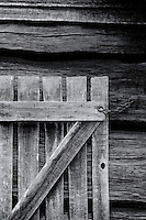 Weathered gate and log wall detail at Oconaluftee Visitor Center in Great Smoky Mountains National Park.