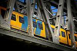 ZALTBOMMEL - Een stoptrein van de Nederlandse Spoorwegen rijdt schijnbaar klem tussen de stalen spanten van de spoorbrug met hoge snelheid over de rivier Waal op het traject Utrecht - Den Bosch. COPYRIGHT TON BORSBOOM