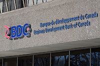 The BDC (Business Development Bank of Canada / Banque de Developpement du Canada) logo is pictured on their Rue Grande-Allee Street office building in Quebec City February 24, 2009.