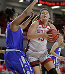 VERMILLION, SD: JANUARY 13:  Taylor Frederick #15 of South Dakota drives past KeShyra McCarver #3 of Ft. Wayne during their Summit League game Saturday January 13 at the Sanford Coyote Sports Center in Vermillion, S.D.   (Photo by Dick Carlson/Inertia)
