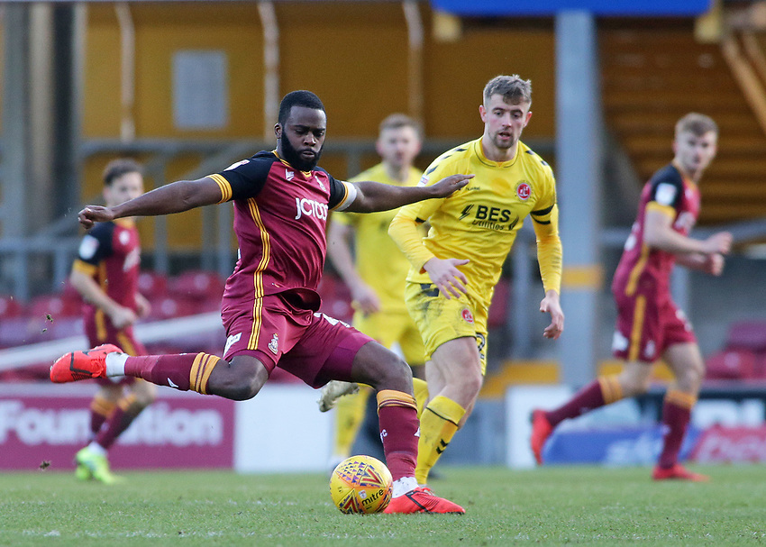 Bradford City's Hope Akpan plays the ball away from Fleetwood Town's James Husband<br /> <br /> Photographer David Shipman/CameraSport<br /> <br /> The EFL Sky Bet League One - Bradford City v Fleetwood Town - Saturday 9th February 2019 - Valley Parade - Bradford<br /> <br /> World Copyright © 2019 CameraSport. All rights reserved. 43 Linden Ave. Countesthorpe. Leicester. England. LE8 5PG - Tel: +44 (0) 116 277 4147 - admin@camerasport.com - www.camerasport.com