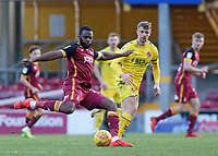Bradford City's Hope Akpan plays the ball away from Fleetwood Town's James Husband<br /> <br /> Photographer David Shipman/CameraSport<br /> <br /> The EFL Sky Bet League One - Bradford City v Fleetwood Town - Saturday 9th February 2019 - Valley Parade - Bradford<br /> <br /> World Copyright &copy; 2019 CameraSport. All rights reserved. 43 Linden Ave. Countesthorpe. Leicester. England. LE8 5PG - Tel: +44 (0) 116 277 4147 - admin@camerasport.com - www.camerasport.com