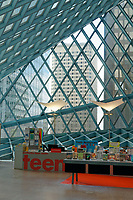 Starbucks Teen Center on Level 3  of Seattle Central Library building in downtown Seattle, Washington state, USA