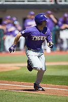 Josh Smith (4) of the LSU Tigers hustles down the first base line against the Georgia Bulldogs at Foley Field on March 23, 2019 in Athens, Georgia. The Bulldogs defeated the Tigers 2-0. (Brian Westerholt/Four Seam Images)