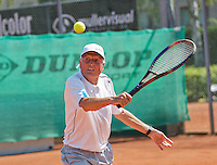 Netherlands, Amstelveen, August 23, 2015, Tennis,  National Veteran Championships, NVK, TV de Kegel,  Men's final 75+, Peter Blaas<br /> Photo: Tennisimages/Henk Koster
