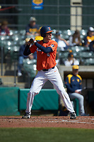 Cam McDonald (4) of the Illinois Fighting Illini at bat against the West Virginia Mountaineers at TicketReturn.com Field at Pelicans Ballpark on February 23, 2020 in Myrtle Beach, South Carolina. The Fighting Illini defeated the Mountaineers 2-1.  (Brian Westerholt/Four Seam Images)