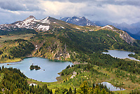 Rock Isle Lake (left) and Laryx Lake (right) in Alpine region of the Canadian Rocky Mountains. Sunshine Meadows. <br />
