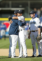 04 October 2009: Seattle Mariners designated hitter Ken Griffey Jr hugs Franklin Gutierrez after the game against the Texas Rangers. Seattle won 4-3 over the Texas Rangers at Safeco Field in Seattle, Washington.