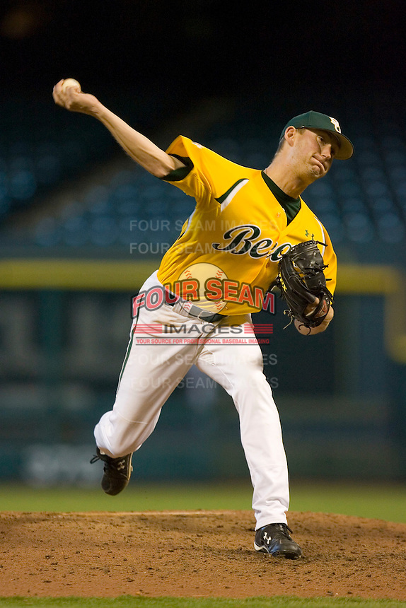 Relief pitcher Max Garner #21 of the Baylor Bears in action versus the Rice Owls in the 2009 Houston College Classic at Minute Maid Park March 1, 2009 in Houston, TX.  The Owls defeated the Bears 8-3. (Photo by Brian Westerholt / Four Seam Images)