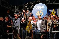 ATENÇÃO EDITOR: FOTO EMBARGADA PARA VEÍCULOS INTERNACIONAIS. SAO PAULO, 29 DE SETEMBRO DE 2012. ELEICAO 2012 SP - CAMPANHA JOSE SERRA. O candidato do PSDB a prefeitura de Sao Paulo, Jose Serra, durante comicio na tarde deste sabado no Largo Treze de Maio, Santo Amaro, na zona sul da capital paulista   FOTO ADRIANA SPACA/BRAZIL PHOTO PRESS