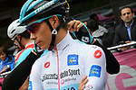 Maglia Bianca Miguel Angel Lopez Moreno (COL) Astana Pro Team at sign on before Stage 17 of the 2019 Giro d'Italia, running 181km from Commezzadura (Val di Sole) to Anterselva / Antholz, Italy. 29th May 2019<br /> Picture: Gian Mattia D'Alberto/LaPresse | Cyclefile<br /> <br /> All photos usage must carry mandatory copyright credit (© Cyclefile | Gian Mattia D'Alberto/LaPresse)