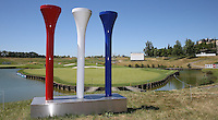 Ryder Cup 2018, les g&eacute;ants arrivent sculpture on the 18th  during the preview days of the 2015 Alstom Open de France, played at Le Golf National, Saint-Quentin-En-Yvelines, Paris, France. /30/06/2015/. Picture: Golffile | David Lloyd<br /> <br /> All photos usage must carry mandatory copyright credit (&copy; Golffile | David Lloyd)