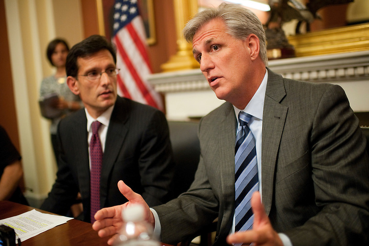 UNITED STATES - SEPTEMBER 20:  House Majority Whip Kevin McCarthy, R-Calif., right, and House Majority Leader Eric Cantor, R-Va., conduct a pen and pad briefing with reporters in the Capitol.  (Photo By Tom Williams/Roll Call)