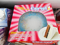 Carvel brand ice cream cakes in a supermarket freezer in New York on Monday, April 4, 2016. Carvel, primarily a Northeast chain, recently announced expansion plans across the country in an arrangement with the Cinnabon and Auntie Annes' chains. All three brands are owned by Focus Brands. The 82 year old Carvel brand has over 400 locations on the East Coast and in Florida. (© Richard B. Levine)
