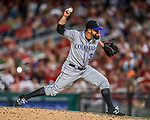 29 July 2017: Colorado Rockies pitcher Pat Neshek on the mound against the Washington Nationals at Nationals Park in Washington, DC. The Rockies defeated the Nationals 4-2 in the first game of their 3-game weekend series. Mandatory Credit: Ed Wolfstein Photo *** RAW (NEF) Image File Available ***
