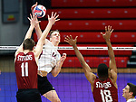 KENOSHA, WI - APRIL 28:  Springfield's Sean Zuvich delivers a kill past the Stevens Institute defense at the Division III Men's Volleyball Championship held at the Tarble Athletic and Recreation Center on April 28, 2018 in Kenosha, Wisconsin. (Photo by Steve Woltmann/NCAA Photos via Getty Images)