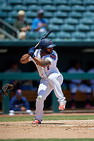 Jacksonville Jumbo Shrimp Justin Twine (2) at bat during a Southern League game against the Tennessee Smokies on April 29, 2019 at Baseball Grounds of Jacksonville in Jacksonville, Florida.  Tennessee defeated Jacksonville 4-1.  (Mike Janes/Four Seam Images)