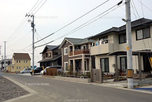 March 3, 2013, Natori, Japan - Newly-built homes cluster together to form a community in Natori, Miyagi Prefecture, on March 7, 2013. The city situated along the Pacific coast was flooded two years ago on March 11 when mounds of tsunami that followed the Magnitude 9.0 earthquake struck the nation's northeast region, leaving more than 15,000 people dead and ravaging wide swaths of coastal towns and villages.  (Photo by Natsuki Sakai/AFLO)