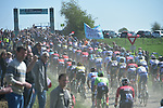 The peloton cross pave sector 25 Briastre to Solesmes during the 115th edition of the Paris-Roubaix 2017 race running 257km Compiegne to Roubaix, France. 9th April 2017.<br /> Picture: ASO/P.Ballet | Cyclefile<br /> <br /> <br /> All photos usage must carry mandatory copyright credit (&copy; Cyclefile | ASO/P.Ballet)