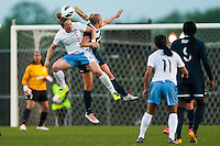 Chicago Red Stars forward Ella Masar (3) goes up for a header with Sky Blue FC defender Kendall Johnson (5). Sky Blue FC and the Chicago Red Stars played to a 1-1 tie during a National Women's Soccer League (NWSL) match at Yurcak Field in Piscataway, NJ, on May 8, 2013.