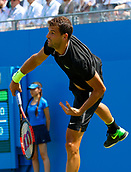 June 19th 2017, Queens Club, West Kensington, London; Aegon Tennis Championships, Day 1; Number six seed Grigor Dimitrov (BUL) serves during his first round singles match against Ryan Harrison (USA); Dimitrov won in straight sets