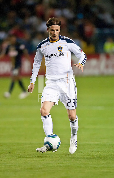 CARSON, CA – April 2, 2011: LA Galaxy midfielder David Beckham (23) during the match between LA Galaxy and Philadelphia Union at the Home Depot Center, March 26, 2011 in Carson, California. Final score LA Galaxy 1, Philadelphia Union 0.