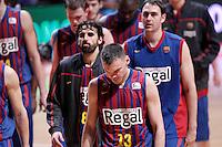 FC Barcelona Regal's Victor Sada, Sarunas Jasikevicius and Erazem Lorbek dejected after Liga Endesa ACB match.January 13,2012. (ALTERPHOTOS/Acero)