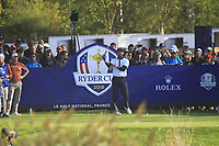 Bubba Watson (Team USA) on the 14th tee during Saturday Foursomes at the Ryder Cup, Le Golf National, Ile-de-France, France. 29/09/2018.<br /> Picture Thos Caffrey / Golffile.ie<br /> <br /> All photo usage must carry mandatory copyright credit (&copy; Golffile | Thos Caffrey)