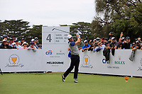 Justin Thomas (USA) on the 4th tee during the Second Round - Foursomes of the Presidents Cup 2019, Royal Melbourne Golf Club, Melbourne, Victoria, Australia. 13/12/2019.<br /> Picture Thos Caffrey / Golffile.ie<br /> <br /> All photo usage must carry mandatory copyright credit (© Golffile | Thos Caffrey)
