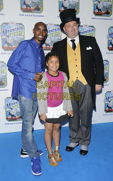 Mo Farah & his daughter Rihanna & & 'butler'.The 'Thomas & Friends: Blue Mountain Mystery' UK film premiere, Vue West End cinema, Leicester Square, London, England..September 1st, 2012.full length blue shirt jeans denim pink grey gray top white black skirt cardigan father dad family top hat yellow waistcoat.CAP/CAN.©Can Nguyen/Capital Pictures.