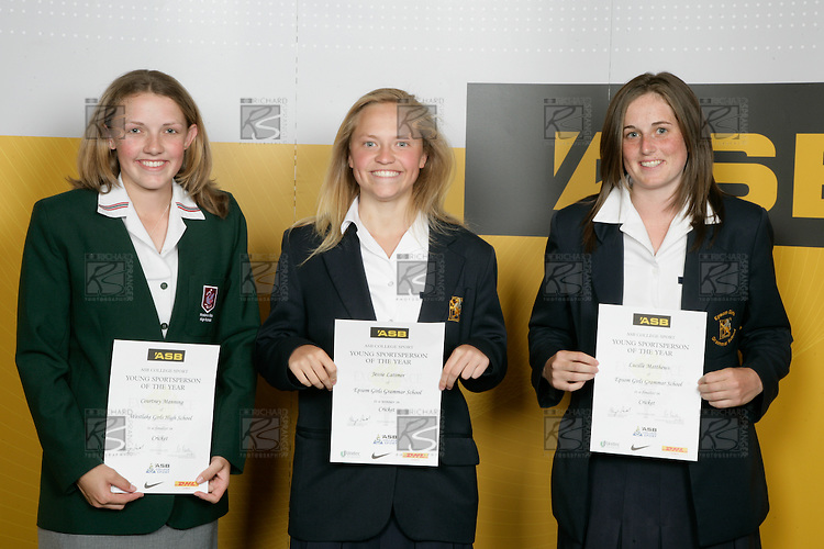 Girls Cricket finalistsCourtney Manning, Jessie Latimer & Lucille Matthews. ASB College Sport Young Sportperson of the Year Awards 2007 held at Eden Park on November 15th, 2007.