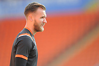 Blackpool's Jak Alnwick during the pre-match warm-up <br /> <br /> Photographer Kevin Barnes/CameraSport<br /> <br /> The Carabao Cup First Round - Blackpool v Macclesfield Town - Tuesday 13th August 2019 - Bloomfield Road - Blackpool<br />  <br /> World Copyright © 2019 CameraSport. All rights reserved. 43 Linden Ave. Countesthorpe. Leicester. England. LE8 5PG - Tel: +44 (0) 116 277 4147 - admin@camerasport.com - www.camerasport.com