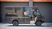 A UPS truck in Manhattan in New York on Friday, September 11, 2015. (© Richard B. Levine)