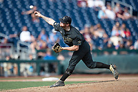 Vanderbilt Commodores pitcher Tyler Brown (21) delivers a pitch to the plate during Game 8 of the NCAA College World Series against the Mississippi State Bulldogs on June 19, 2019 at TD Ameritrade Park in Omaha, Nebraska. Vanderbilt defeated Mississippi State 6-3. (Andrew Woolley/Four Seam Images)