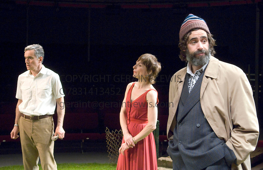 The Norman Conquests. Round and Round the Garden. Written by Alan Ayckbourn,directed by Matthew Warchus. With  Ben Miles as Tom , Amelia Bullmore as Ruth, Stephen Mangan as Norman .Opens at The Old Vic Theatre  on 6/10/08  CREDIT Geraint Lewis