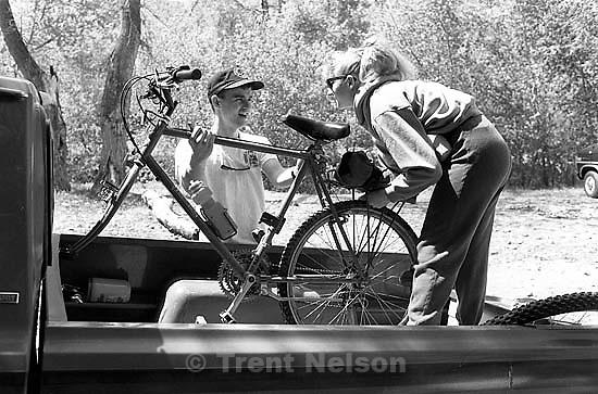 Christian Godfrey and Kathy Godfrey on a bike trip.<br />